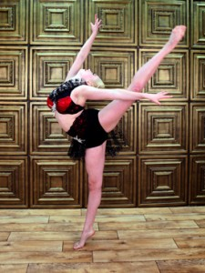 Alyssa Ness demonstrates a beautiful Arabesque